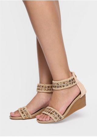 PU Sequined Zipper Wedge Sandals