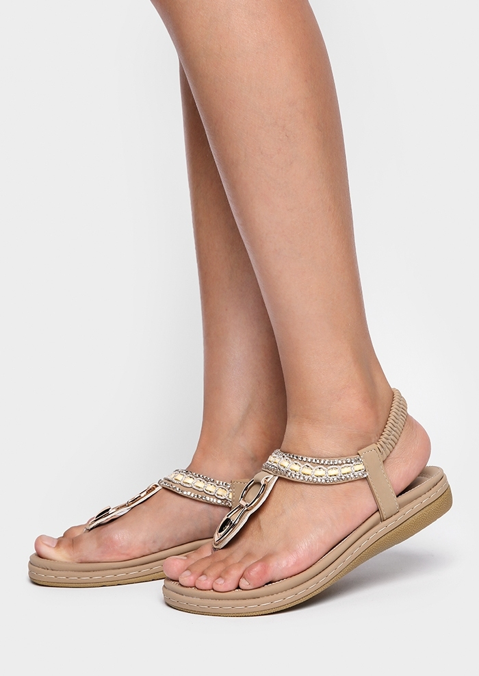 Solid Imitated Crystal Flat Sandals