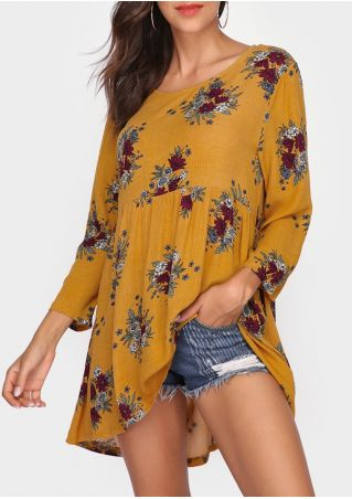 Floral Ruffled Hollow Out Blouse