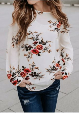 Floral Long Sleeve O-Neck Blouse