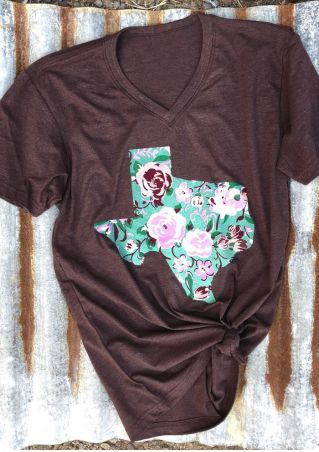 Floral Texas V-Neck Short Sleeve T-Shirt