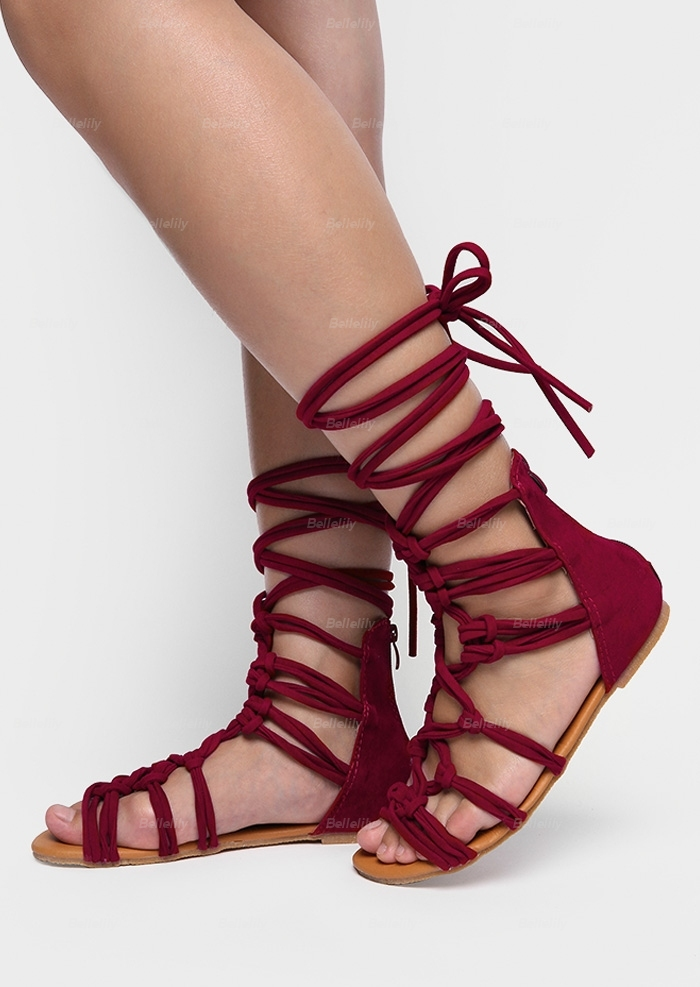 Solid Lace Up Gladiator Sandals
