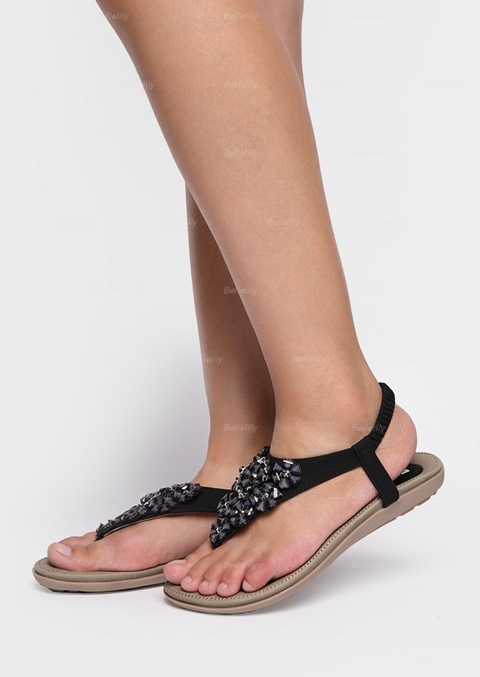 Flower Imitated Crystal Flat Sandals