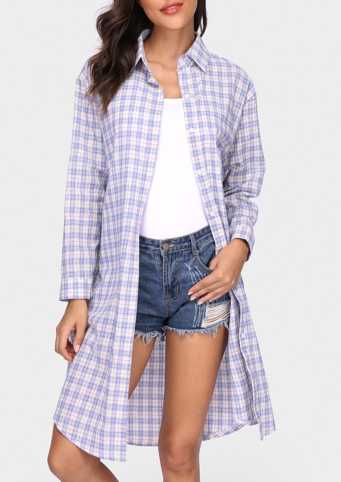 Plaid Turn-Down Collar Long Shirt 409710