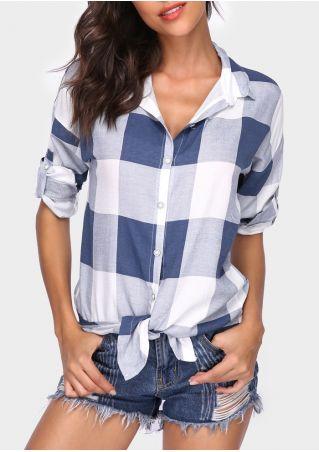 Plaid Button Tie Tab-Sleeve Shirt