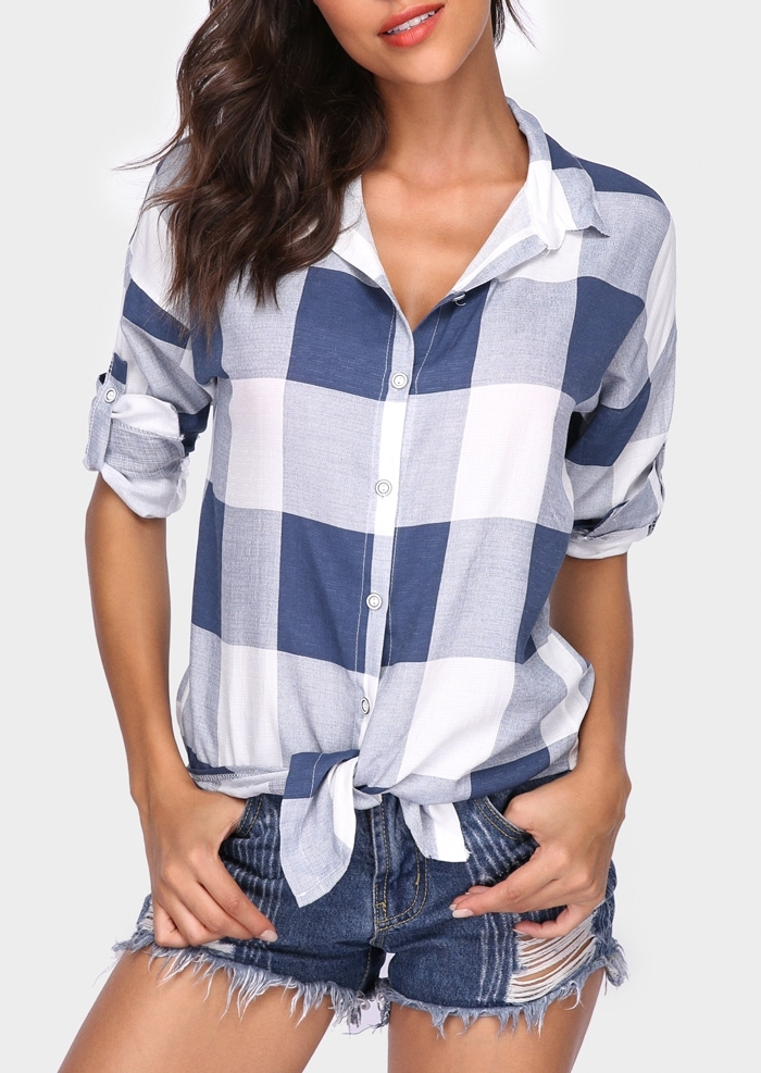 Plaid Button Tie Tab-Sleeve Shirt 409715