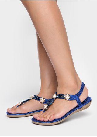 Beading Elastic Band Flat Sandals