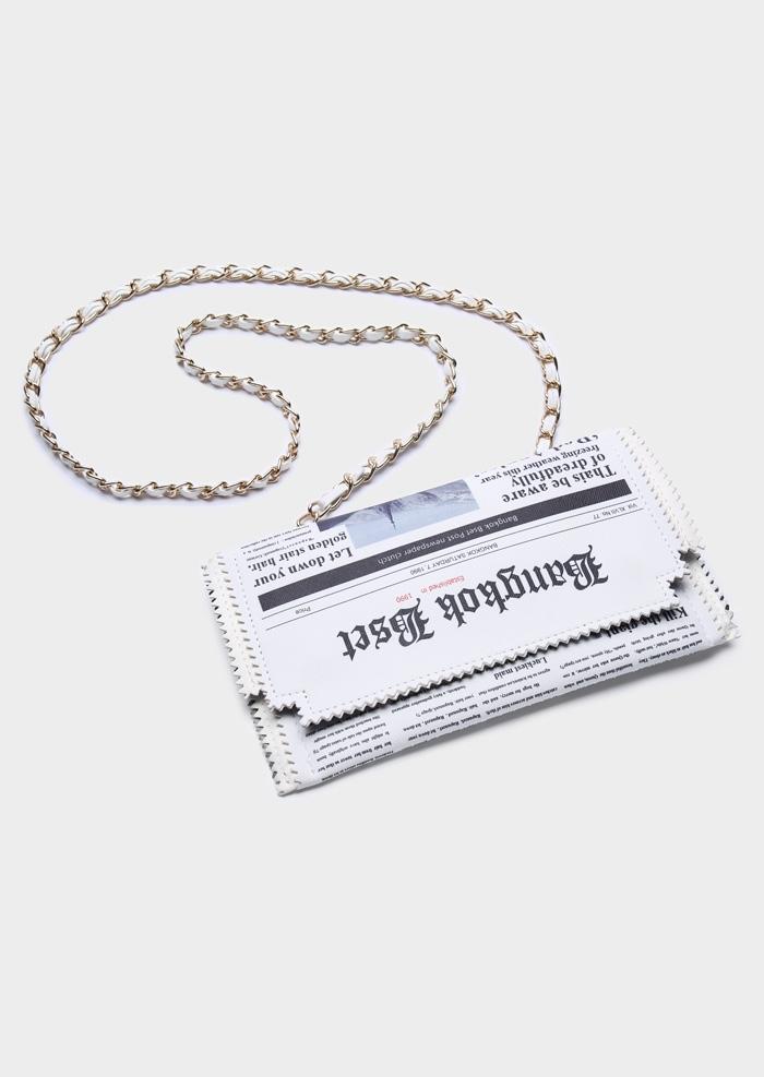 Newspaper Chain Removable Strap Crossbody Bag
