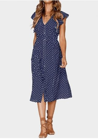 Polka Dot Button Flouncing Casual Dress without Necklace