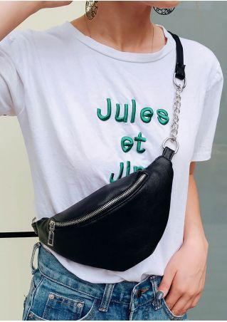 Solid Chain Zipper Shoulder Fanny Pack