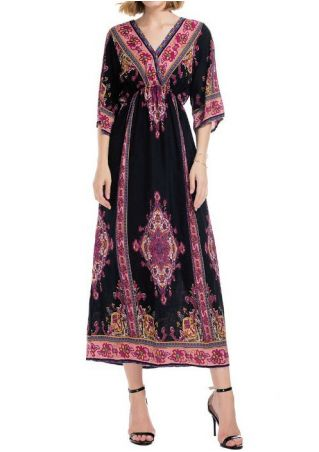 Floral Three Quarter Sleeve V-Neck Maxi Dress
