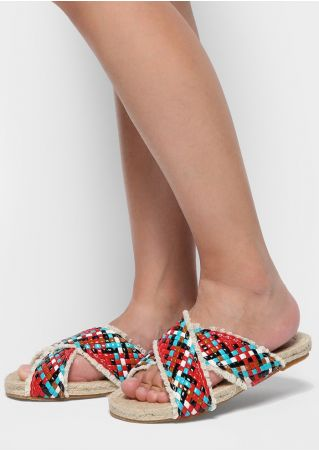 Multicolor Braided Cross Slide Sandals
