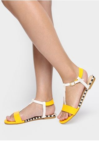 Color Block Striped Flat Sandals