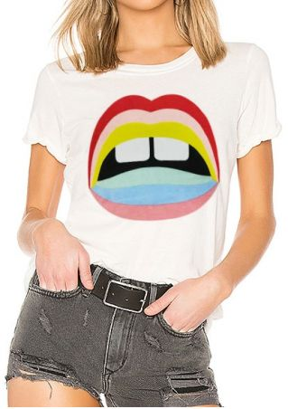 Mouth Short Sleeve O-Neck T-Shirt