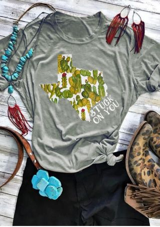 Floral Cactus Texas Stuck On You T-Shirt
