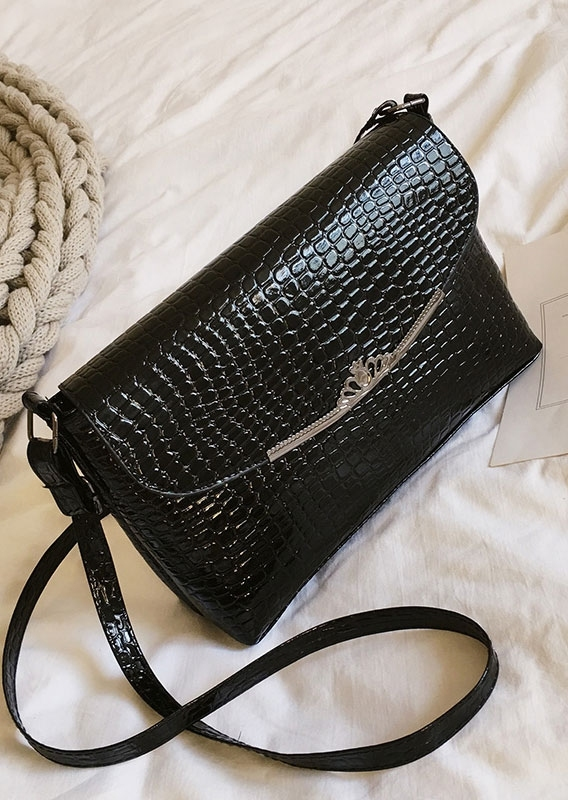 Solid Crown Zipper Crossbody Bag