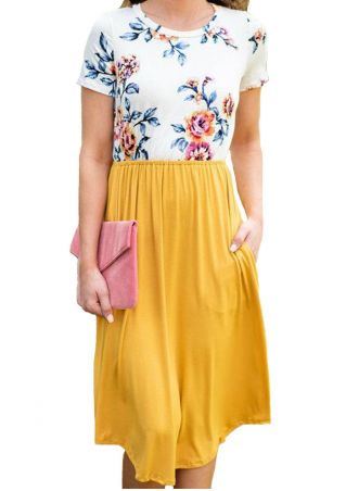 Floral Splicing Pocket Casual Dress