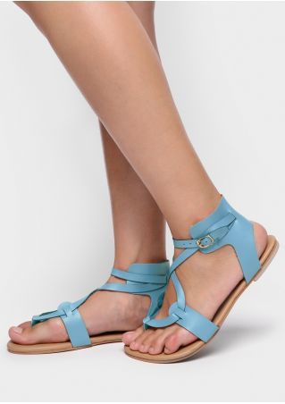 Solid PU Buckle Flat Sandals