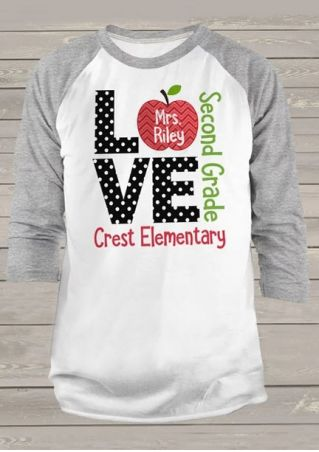 Love Second Grade Apple Polka Dot T-Shirt