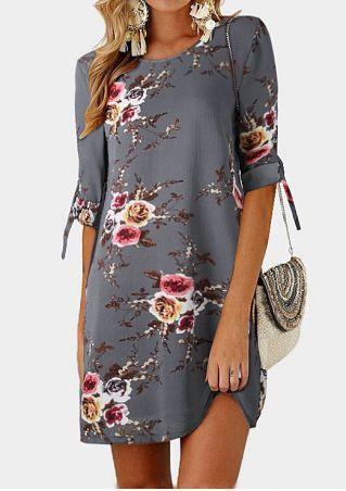 Floral Tab-Sleeve O-Neck Mini Dress