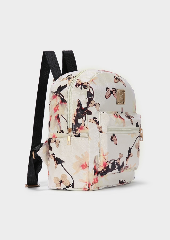 Butterfly Floral PU Zipper Backpack
