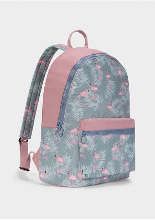 Flamingo Leaf Zipper Adjustable Strap Backpack