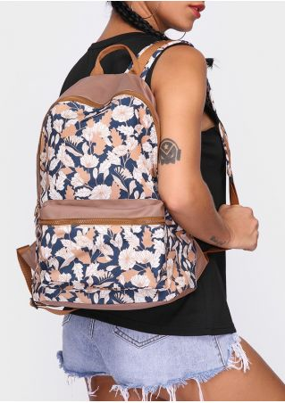 Floral Adjustable Strap Zipper Backpack