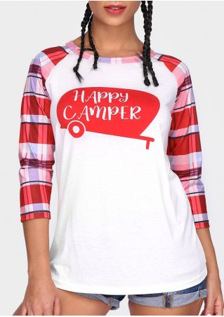 Happy Camper Plaid Baseball T-Shirt
