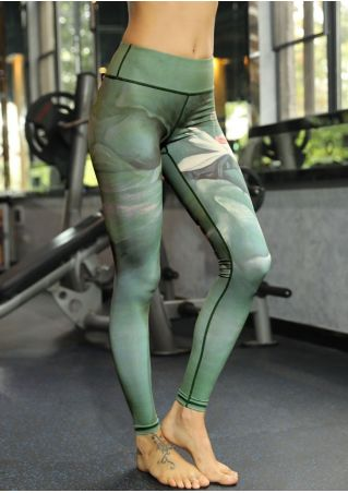 Lotus Printed High Waist Sport Leggings