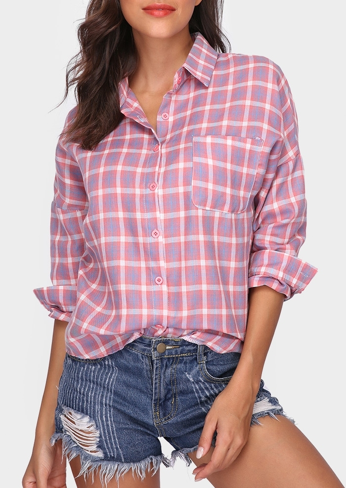 Plaid Button Turn-Down Collar Shirt 409736