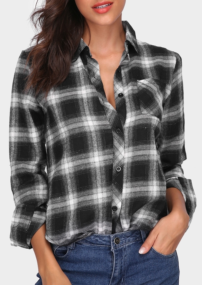 Plaid Cotton Button Turn-Down Collar Shirt 409740