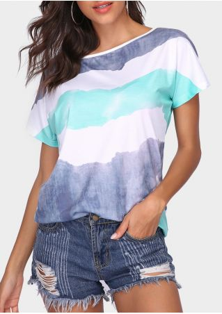 Color Block Short Sleeve Blouse