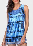 Printed Lace Splicing O-Neck Tank