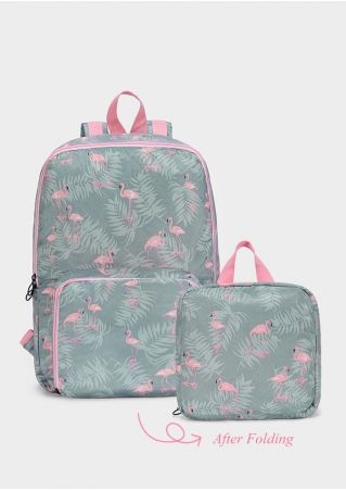 Flamingo Leaf Folding Backpack Handbag