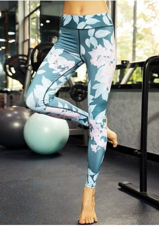 Floral Leaf High Waist Sport Leggings