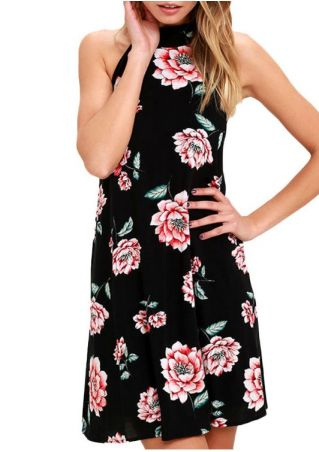 Floral Halter Backless Sleeveless Mini Dress