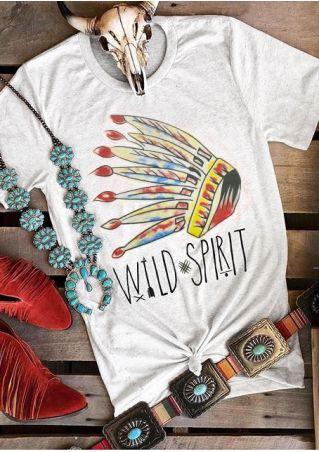 Wild Spirit Indian Feather Headdress Arrow T-Shirt