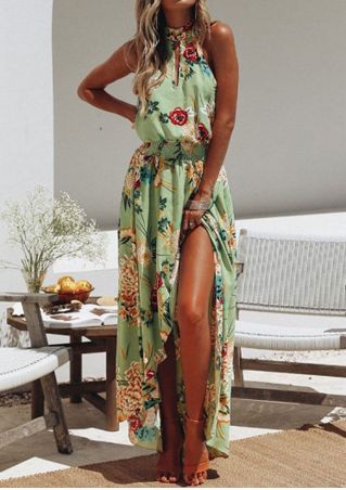Floral Tie Slit Sleeveless Maxi Dress