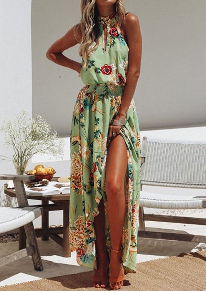 Floral Tie Slit Sleeveless Maxi Dress