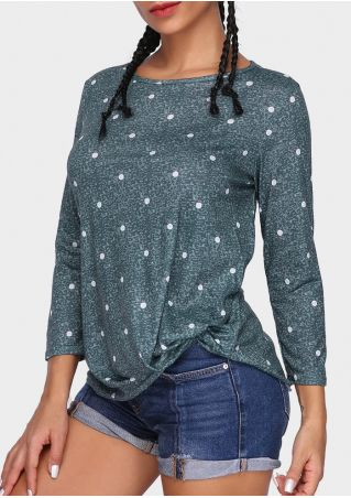 Polka Dot Twist O-Neck Blouse