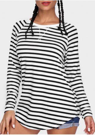 Striped Asymmetric Long Sleeve T-Shirt
