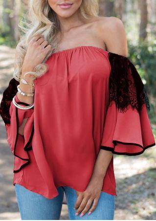 Lace Floral Flare Sleeve Off Shoulder Blouse