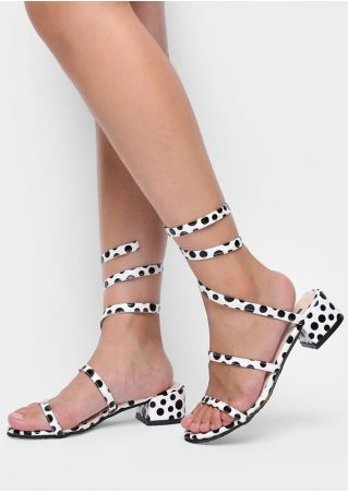 Polka Dot Low-Heeled Slip-On Sandals