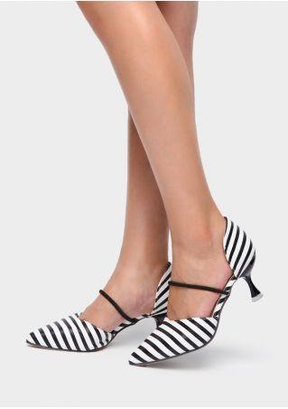 Striped Polka Dot Pointed Toe Heeled Pumps