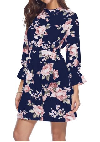 Floral Wrist O-Neck Mini Dress