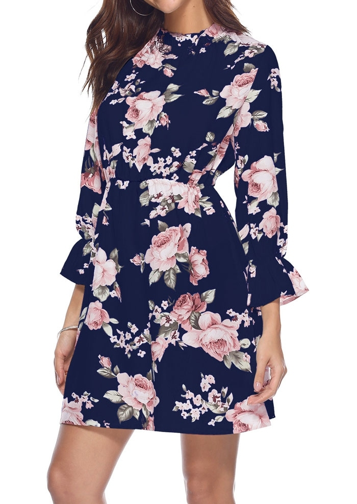 Floral Wrist O-Neck Mini Dress