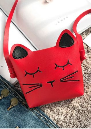 PU Cat Face Shaped Crossbody Bag