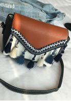 Color Block Tassel Crossbody Bag