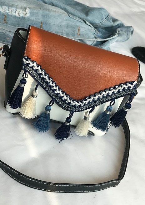 Color Block Tassel Crossbody Bag