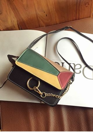 Color Block Chain Crossbody Bag